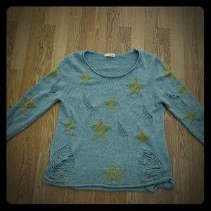 Love tree shredded sweater